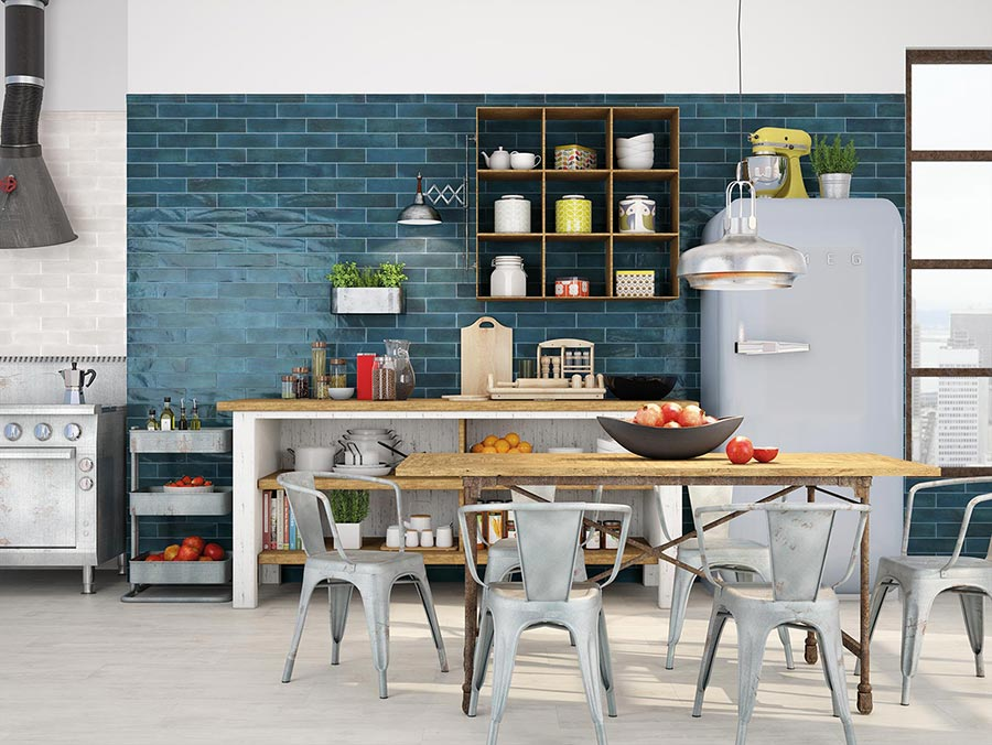 Henry Tile Retro Blue Kitchen Tile Gallery