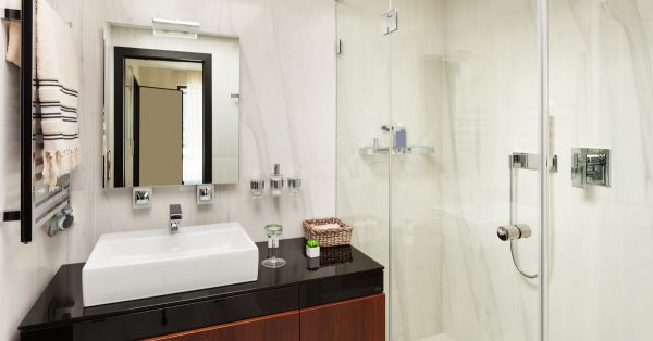 white bathroom with large porcelain tile