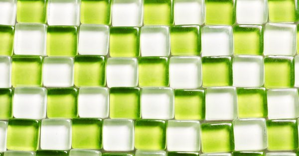 green and clear glass tile
