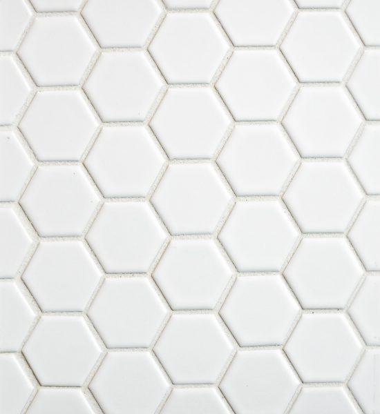 "Hexagon Mosaic 1"" White with white grout"