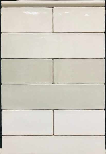 hand-cut edged rectangular white subway tile